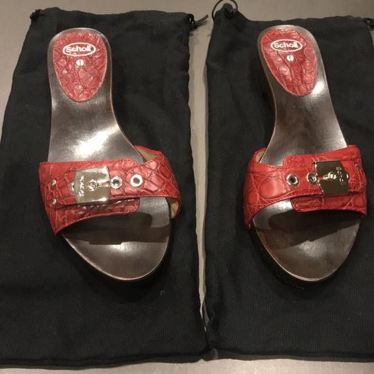 Dr. Scholl's Red Crocodile Sandals Image 1
