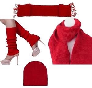 BLUELANS New Long Red Knit Scarf, Leg Warmers, and Beanie Set