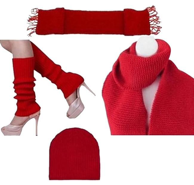 Red New Long Knit Leg Warmers and Beanie Set Scarf/Wrap Red New Long Knit Leg Warmers and Beanie Set Scarf/Wrap Image 1
