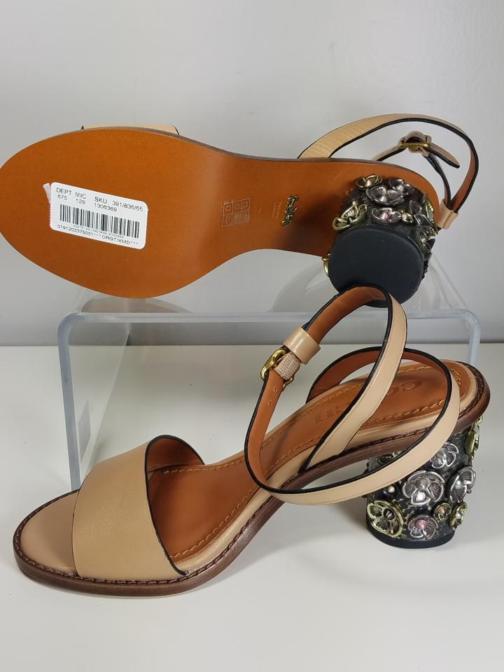 Coach Nude /Brown Mid Heel Tea Rose Ankle Strap Leather