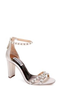 Badgley Mischka Wedding Embellished Butterfly Crystals Strappy Ivory satin Sandals