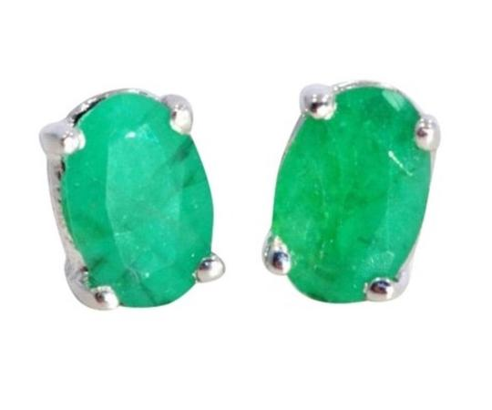 Other 1 Carat Genuine Emerald Oval Stud Earrings .925 Sterling Silver Image 2