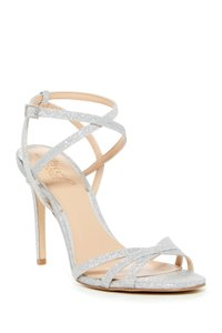 Badgley Mischka Satin Embellished SILVER GLI Sandals