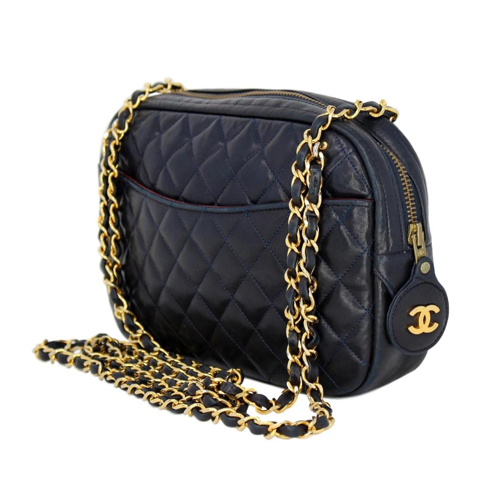 6c71e2352d95 Chanel Camera Vintage 1989-1991 Quilted with Gold Hardware Navy Blue ...