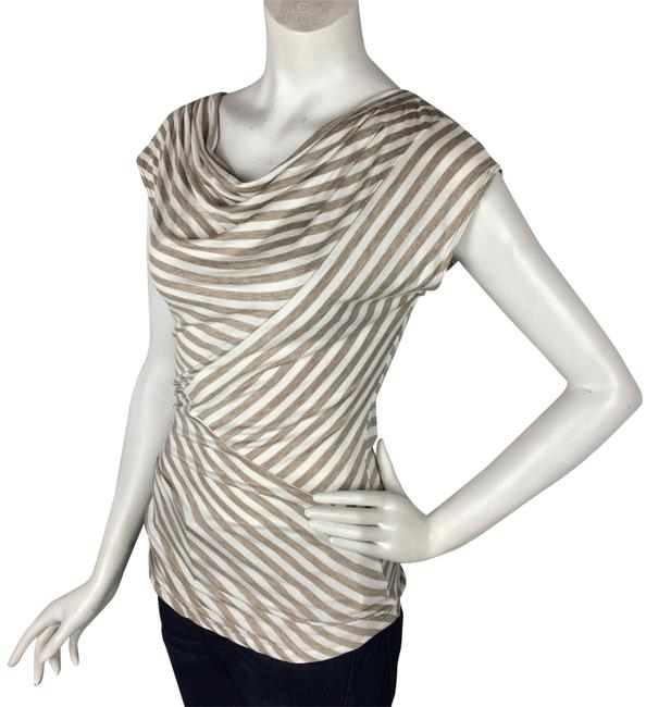 Preload https://img-static.tradesy.com/item/24634307/max-studio-ruched-striped-stretchy-draped-tan-off-white-top-0-10-650-650.jpg