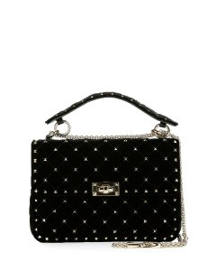 Valentino Velvet Studded Shoulder Bag