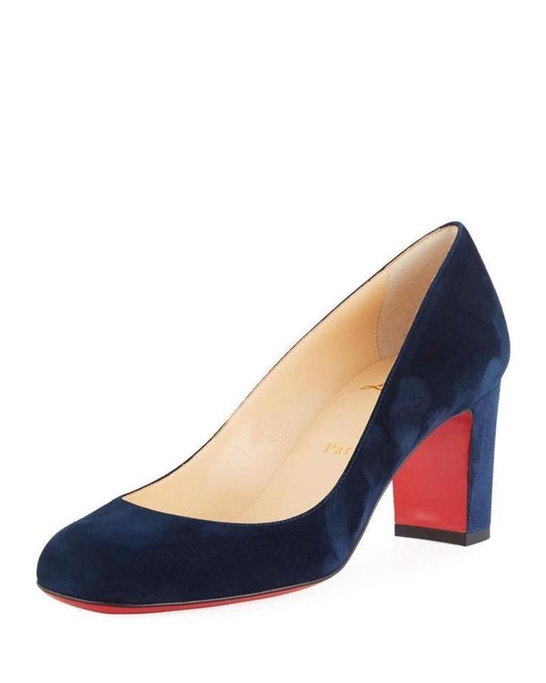 Christian Louboutin Marine Navy Blue Cadrilla 70 Suede Block Pumps Size Eu 37 Approx Us 7 Regular M B 27 Off Retail