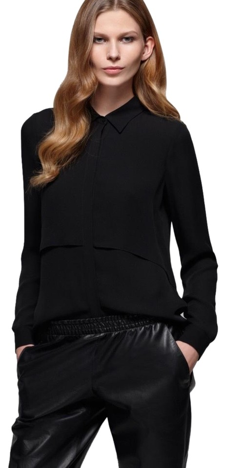 761b8439b57 Theory Black Rosita Layered Silk Blouse Size 6 (S) - Tradesy