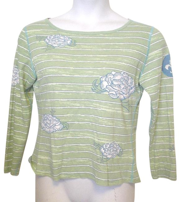 Item - Green Blue White Long Sleeve M Casual Style Tee Shirt Size 8 (M)