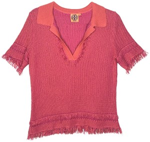 Tory Burch Collar Knit Top Orange and Pink