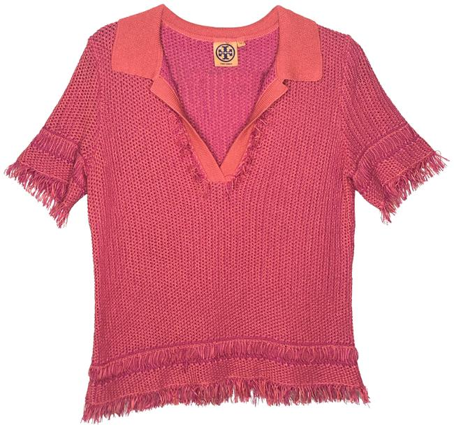 Preload https://img-static.tradesy.com/item/24634408/tory-burch-orange-and-pink-brielle-polo-blouse-size-8-m-0-1-650-650.jpg