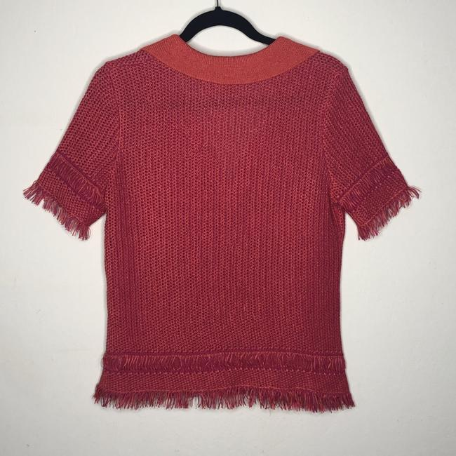 Tory Burch Collar Knit Top Orange and Pink Image 1