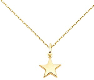 TGDJ Yellow 14k Star Pendant 0.9mm Cable Chain 16'' Necklace