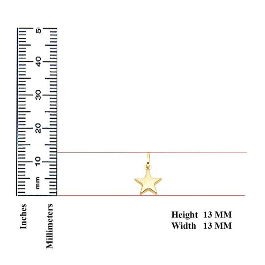 TGDJ Yellow 14k Star Pendant 0.9mm Cable Chain 16'' Necklace Image 1