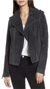 BCBGeneration Suede Moto Assymetrical Peplum Leather Jacket
