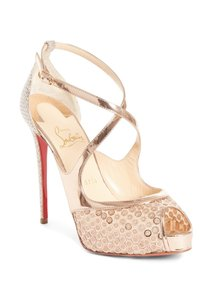 Christian Louboutin Sandals Glitter Sequin Nude/Gold Platforms