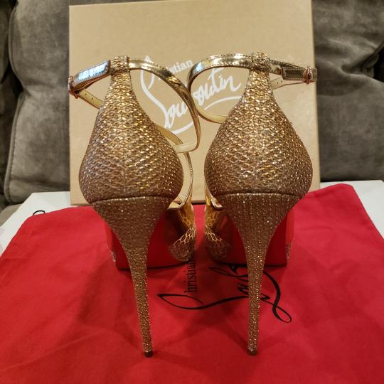 Christian Louboutin Sandals Glitter Sequin Nude/Gold Platforms Image 10