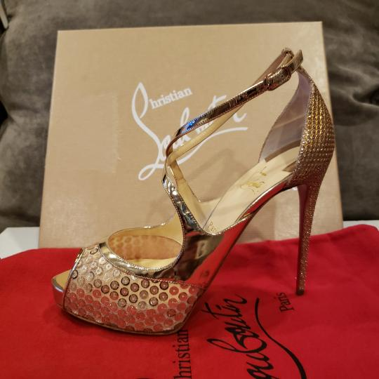 Christian Louboutin Sandals Glitter Sequin Nude/Gold Platforms Image 2