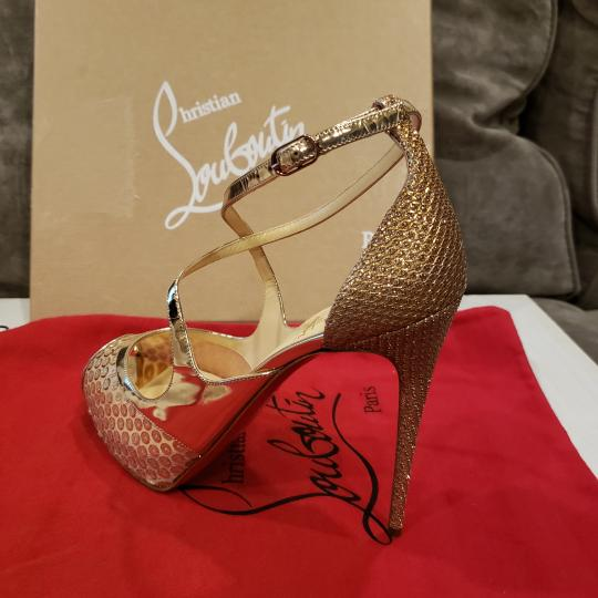 Christian Louboutin Sandals Glitter Sequin Nude/Gold Platforms Image 3