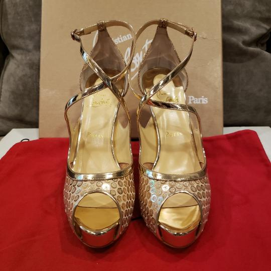Christian Louboutin Sandals Glitter Sequin Nude/Gold Platforms Image 4