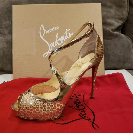 Christian Louboutin Sandals Glitter Sequin Nude/Gold Platforms Image 5