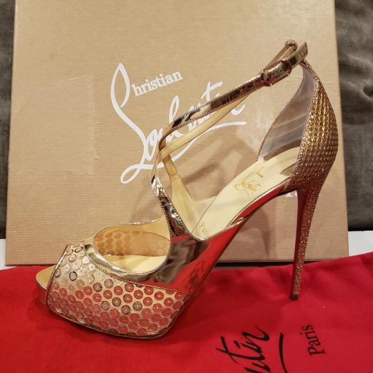 Christian Louboutin Sandals Glitter Sequin Nude/Gold Platforms Image 6