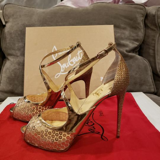 Christian Louboutin Sandals Glitter Sequin Nude/Gold Platforms Image 7