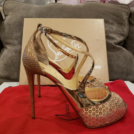 Christian Louboutin Sandals Glitter Sequin Nude/Gold Platforms Image 8