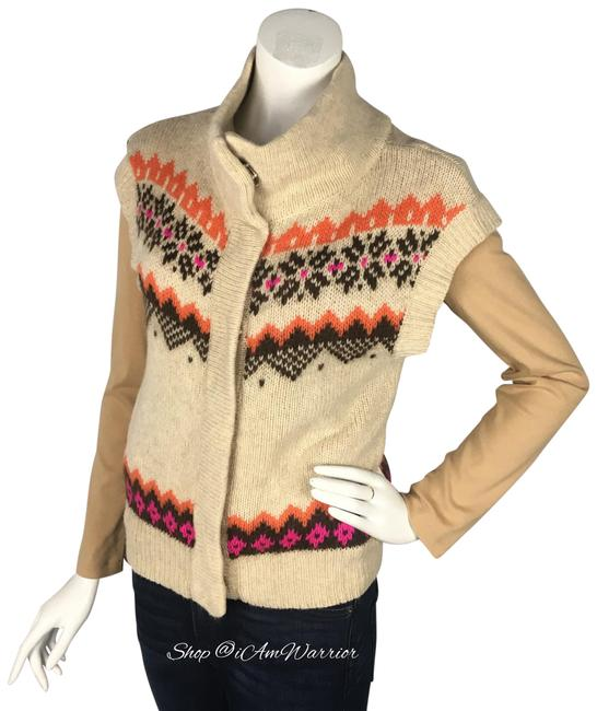Free People Tan Orange Pink Brown Fair Isle High Neck Snap Vest/Sleeveless Cardigan Vest Size 2 (XS) Free People Tan Orange Pink Brown Fair Isle High Neck Snap Vest/Sleeveless Cardigan Vest Size 2 (XS) Image 1