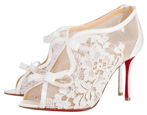 Christian Louboutin Heels Empira Lace Bow White Sandals