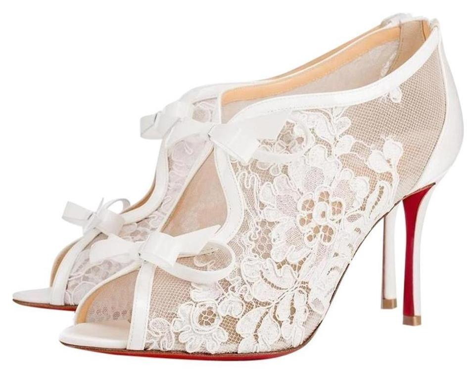 084c07ba75e3 Christian Louboutin White Empira 85 Lace Patent Leather Bow Booties ...