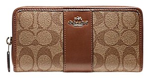 Coach COACH F54630 SIGNATURE COATED CANVAS WITH LEATHER ACCORDION ZIP WALLET