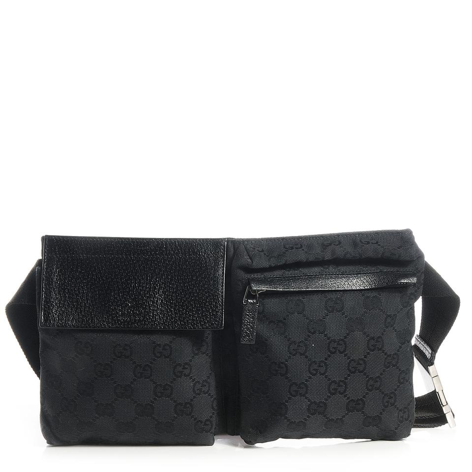 32e2afd824d6b0 Gucci Monogram Gg Belt Fanny Pack Waist Pouch 869604 Black Canvas ...
