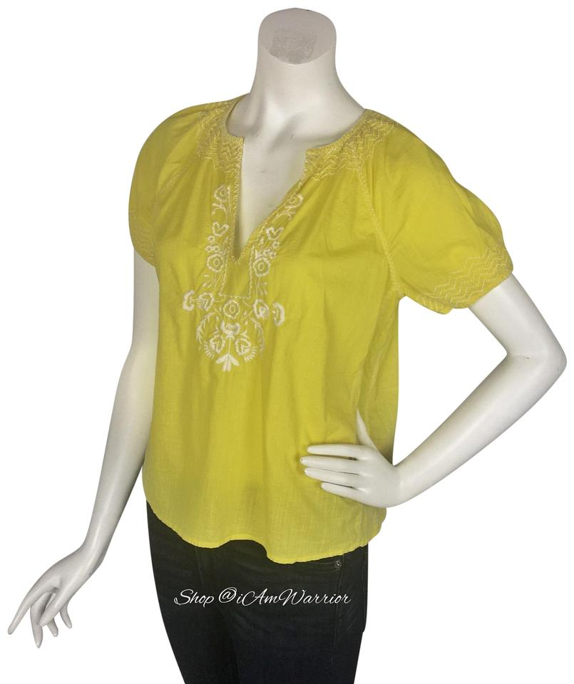 d881ab4e1bf19c J.Crew Yellow White V-neck Embroidered Peasant Blouse Size 6 (S ...