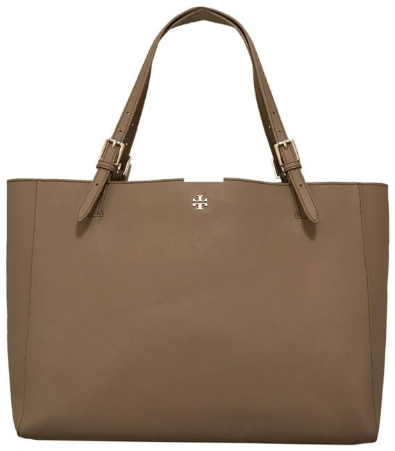 Item - Large York Buckle Laptop Saffiano Gray Silver Leather Tote