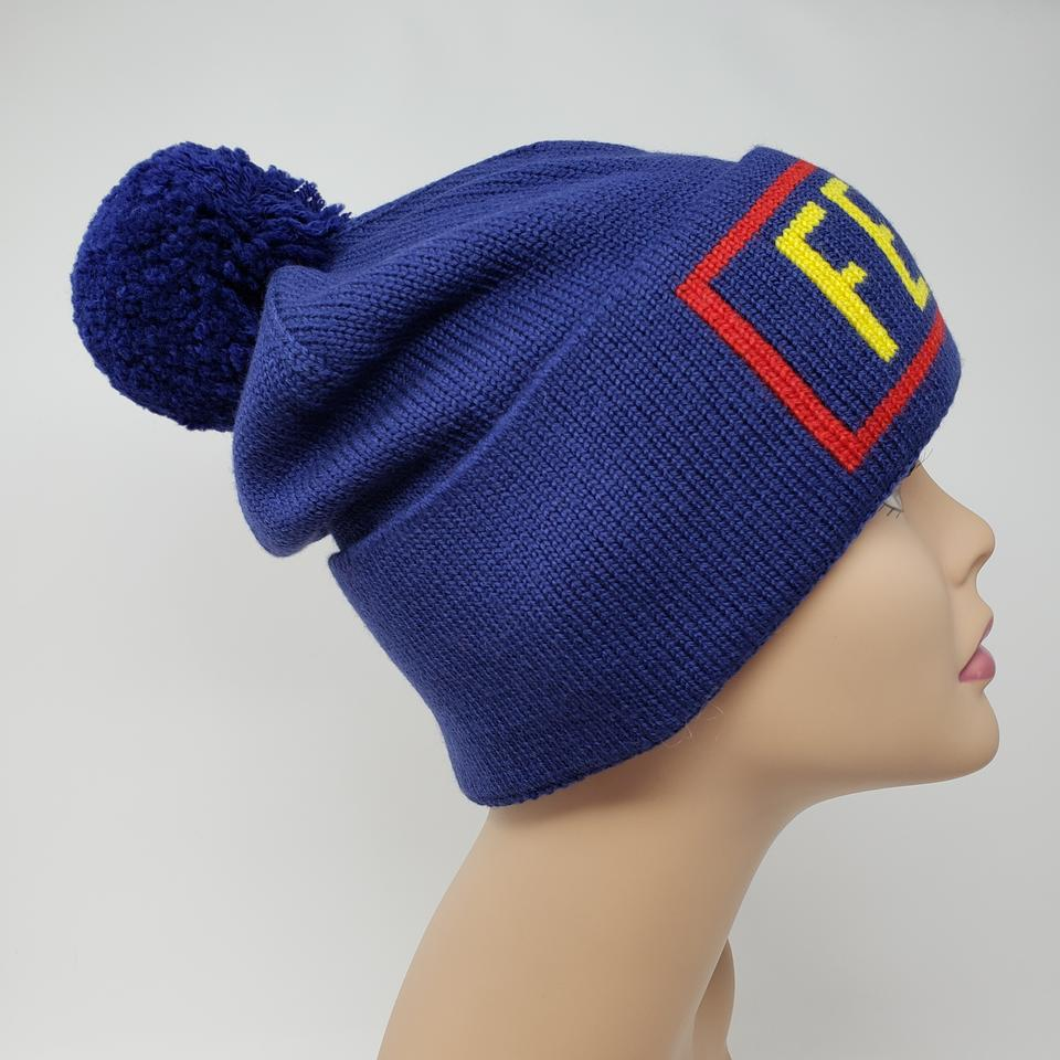 7eb09dc4f Fendi Multicolor Blue Woven Logo Print Wool Beanie Hat 48% off retail
