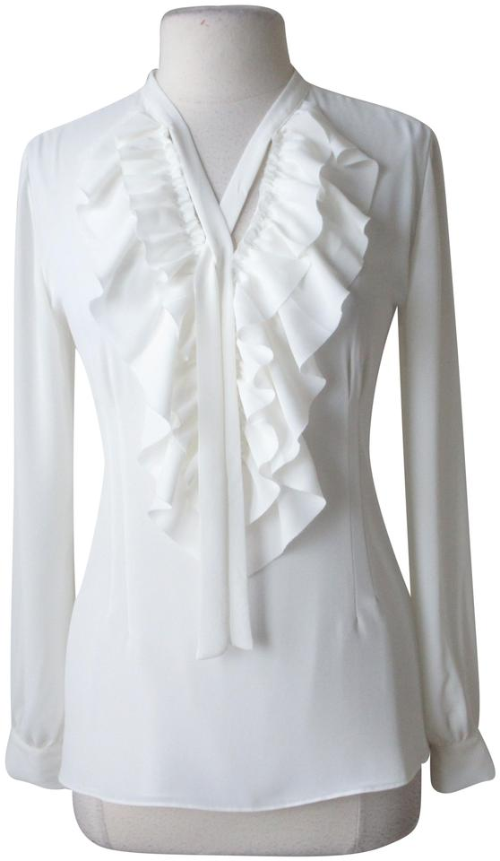 794ce1f6 White House | Black Market Ivory New with Tags Ruffle Front Tie Ecru ...