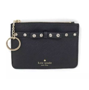Kate Spade Kate Spade Bitsy Laurel Way Jeweled Small Coin Wallet Black Leather
