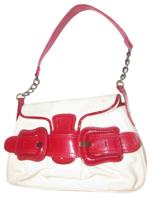 Item - B Buckle Purses Ivory/Red Patent Leather and Canvas Shoulder Bag