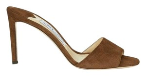 NWT. Jimmy Choo Stacey Cacao Suede Mules 85mm Brown Pumps