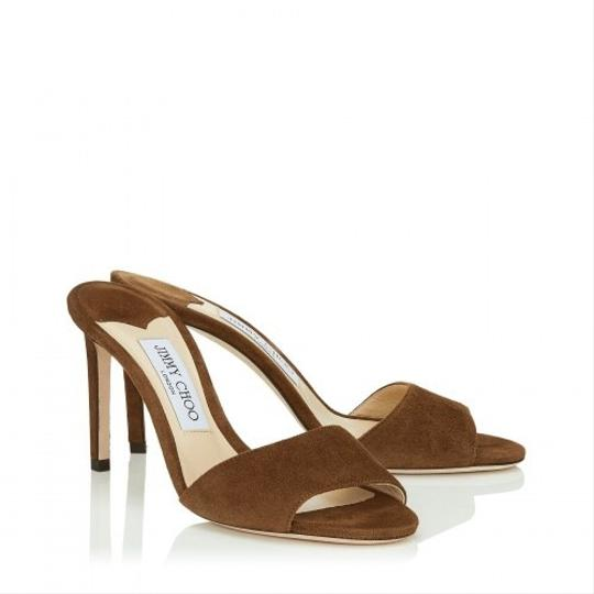 NWT. Jimmy Choo Stacey Cacao Suede Mules 85mm Brown Pumps Image 1