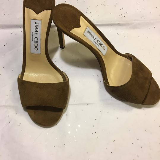 NWT. Jimmy Choo Stacey Cacao Suede Mules 85mm Brown Pumps Image 2