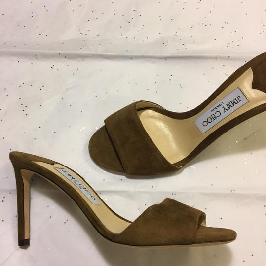 NWT. Jimmy Choo Stacey Cacao Suede Mules 85mm Brown Pumps Image 3