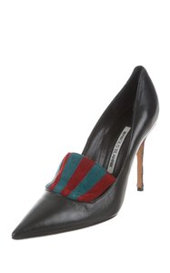 Manolo Blahnik Pointed Toe Leather Black and Multi Pumps