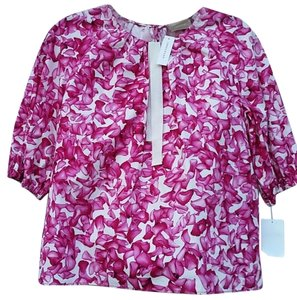 Longchamp Floral Top Pink & White