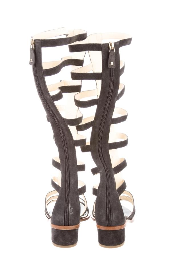 007b7e00bf3 Chanel Charcoal Suede Gladiator Sandals Size US 8.5 Regular (M