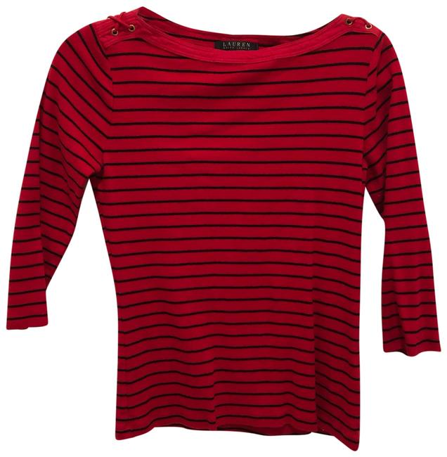 Item - Red Striped Quarter Sleeve Tee Shirt Size 8 (M)