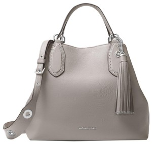 Michael Kors Leather 30t7sbns3l Satchel in Pearl Grey