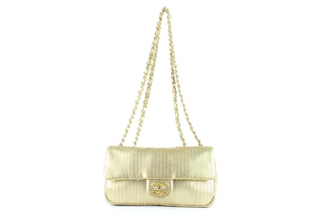 Chanel Laser Cut Small Classic Chain Flap 13ce0104 Gold Leather Cross Body Bag Chanel Laser Cut Small Classic Chain Flap 13ce0104 Gold Leather Cross Body Bag Image 1