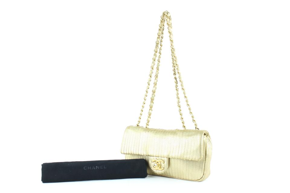 cb1082d88cca Chanel Laser Cut Small Classic Chain Flap 13ce0104 Gold Leather ...